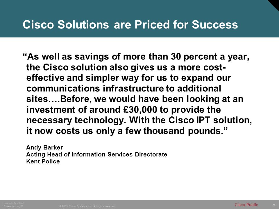 Cisco Solutions are Priced for Success