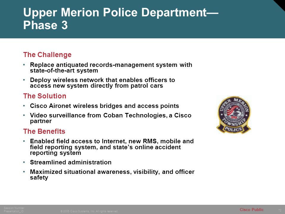 Upper Merion Police Department— Phase 3