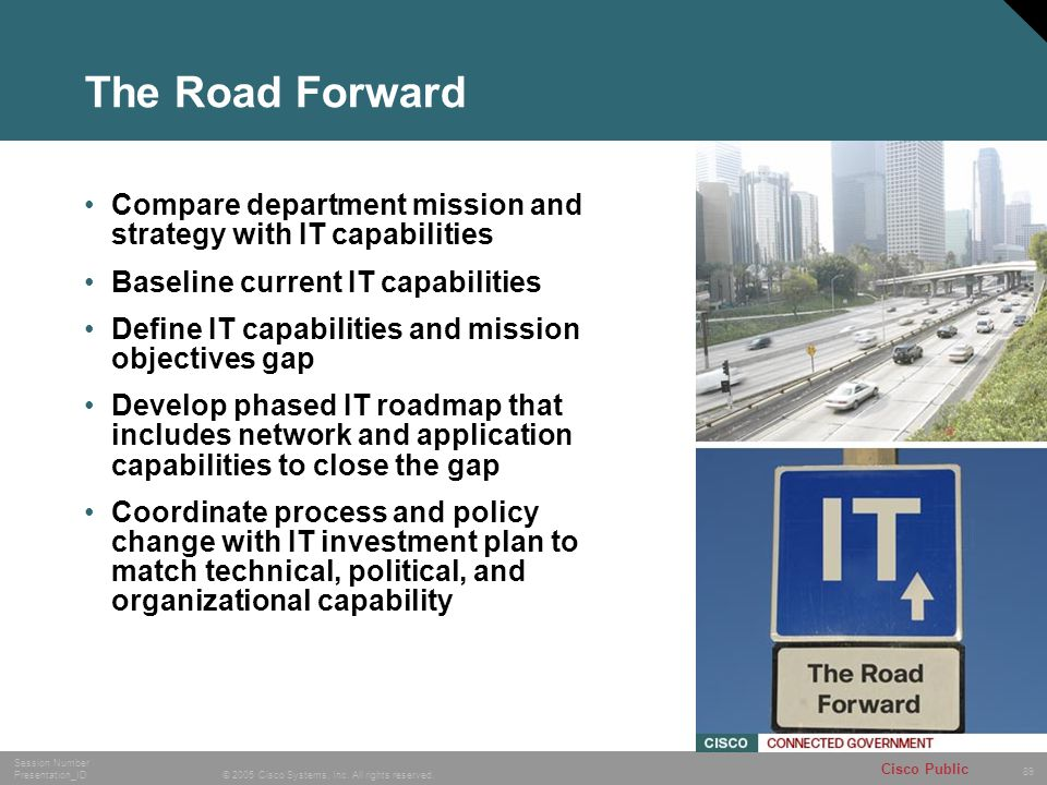 The Road Forward Compare department mission and strategy with IT capabilities. Baseline current IT capabilities.