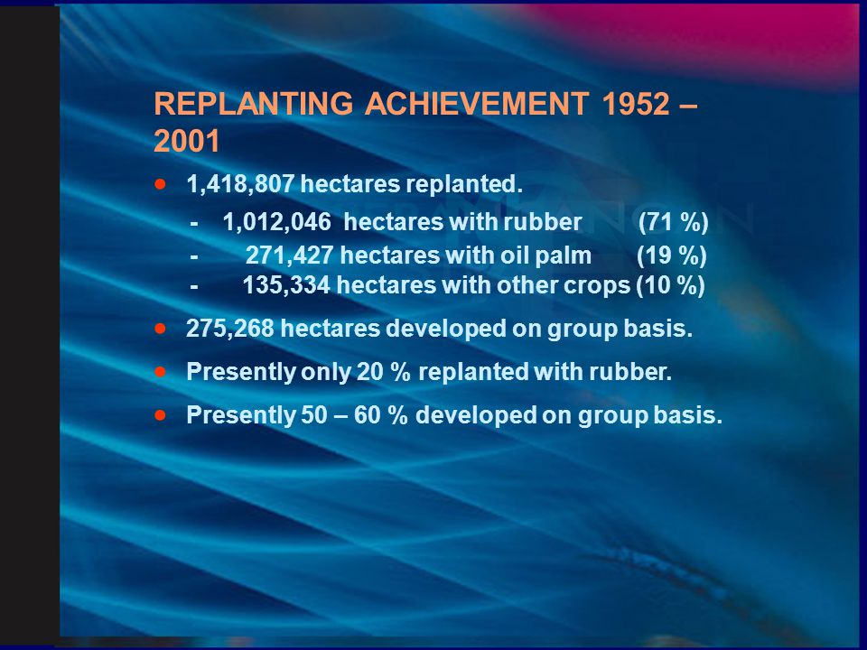 REPLANTING ACHIEVEMENT 1952 – 2001