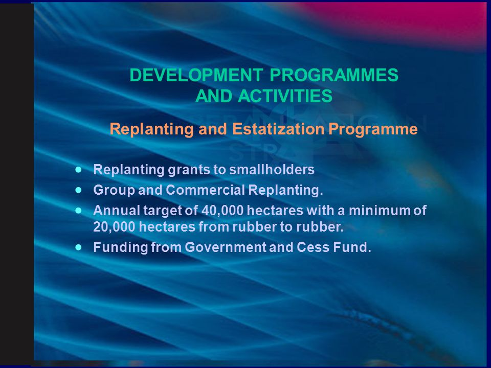 DEVELOPMENT PROGRAMMES AND ACTIVITIES