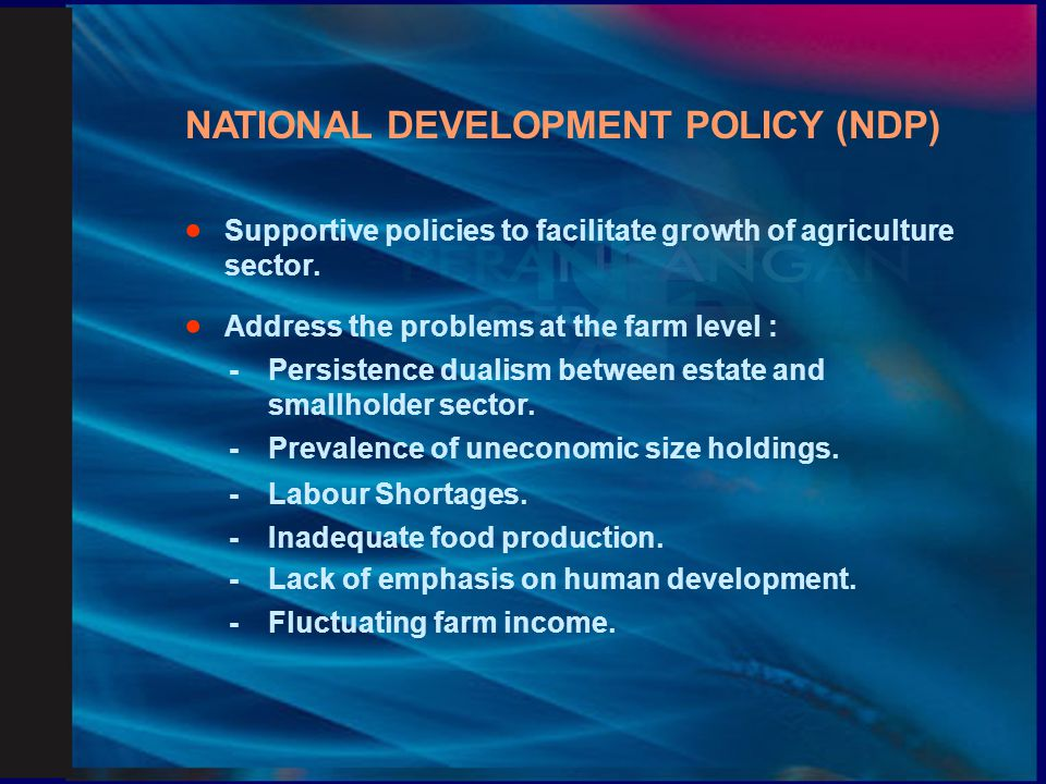NATIONAL DEVELOPMENT POLICY (NDP)