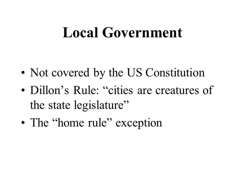 Local Government Not covered by the US Constitution