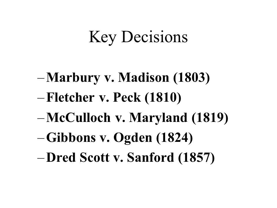 Key Decisions Marbury v. Madison (1803) Fletcher v. Peck (1810)