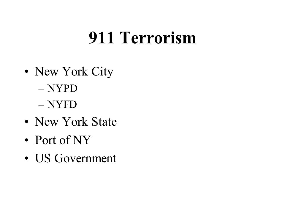 911 Terrorism New York City New York State Port of NY US Government