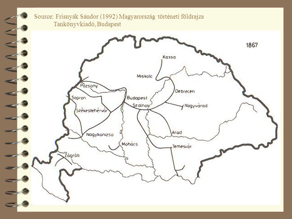 Source: Frisnyák Sándor (1992) Magyarország történeti földrajza Tankönyvkiadó, Budapest