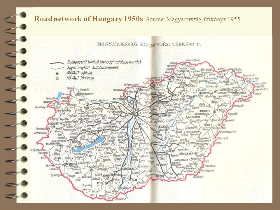 Road network of Hungary 1950s Source: Magyarország útikönyv 1955