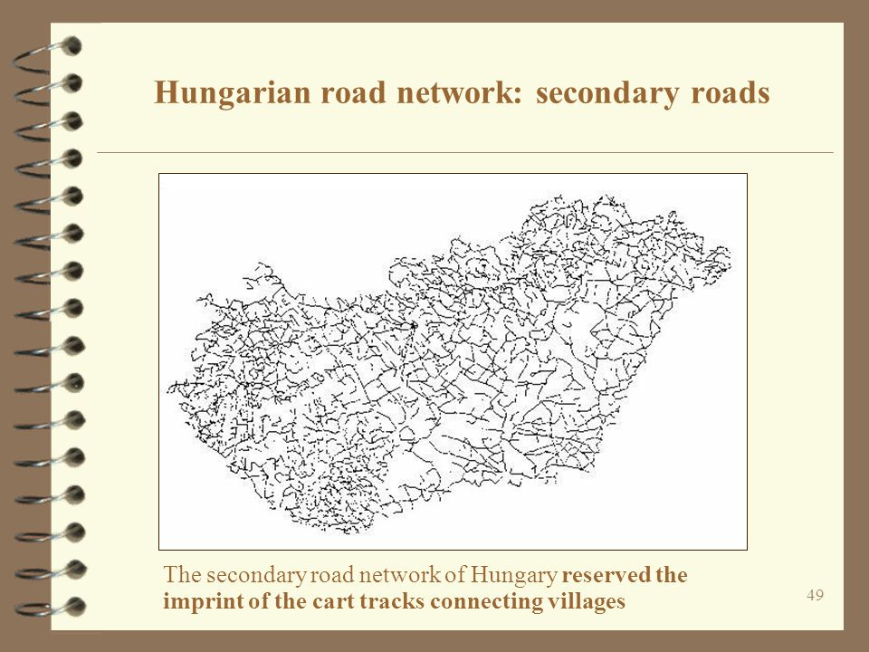 Hungarian road network: secondary roads