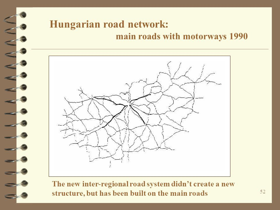 Hungarian road network: main roads with motorways 1990