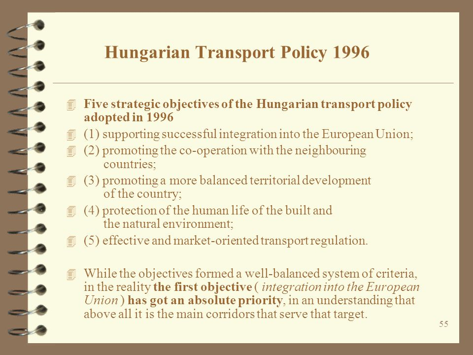 Hungarian Transport Policy 1996