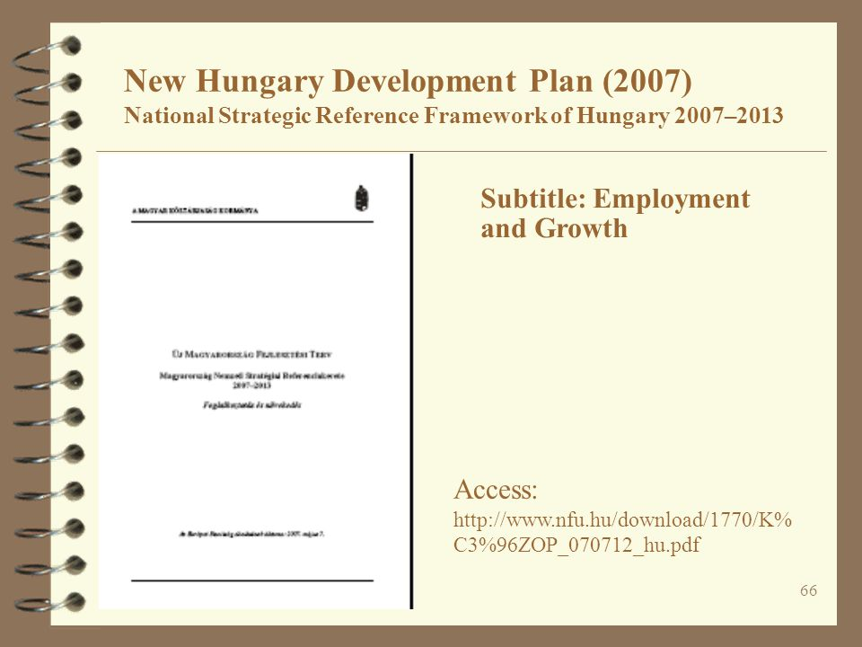 New Hungary Development Plan (2007) National Strategic Reference Framework of Hungary 2007–2013