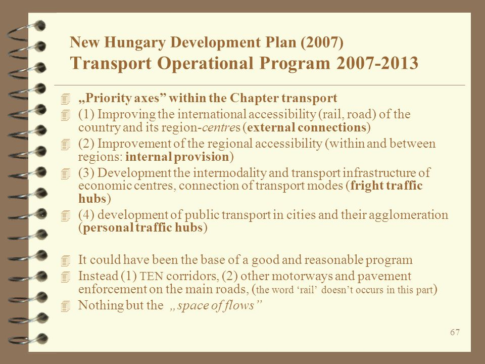 New Hungary Development Plan (2007) Transport Operational Program 2007-2013