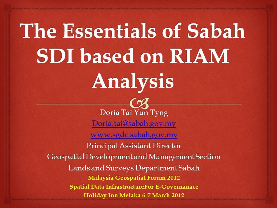 The Essentials of Sabah SDI based on RIAM Analysis
