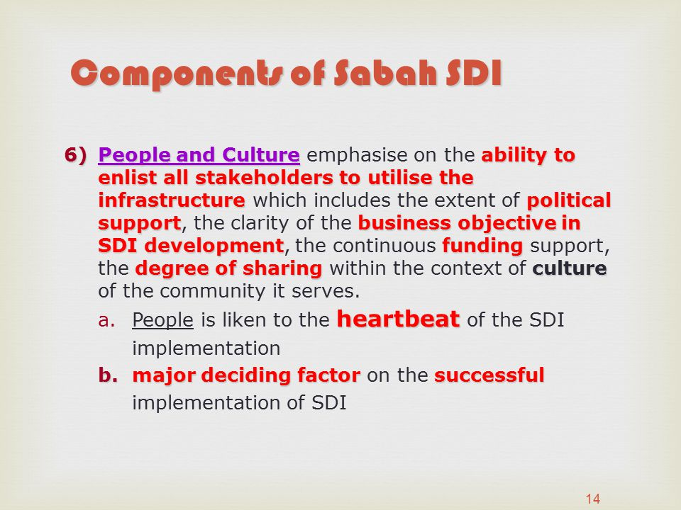 Components of Sabah SDI