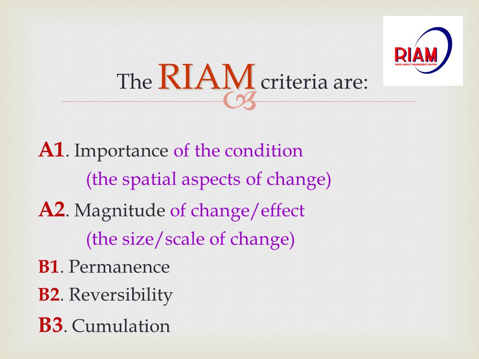 A1. Importance of the condition A2. Magnitude of change/effect