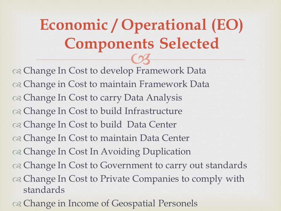 Economic / Operational (EO) Components Selected