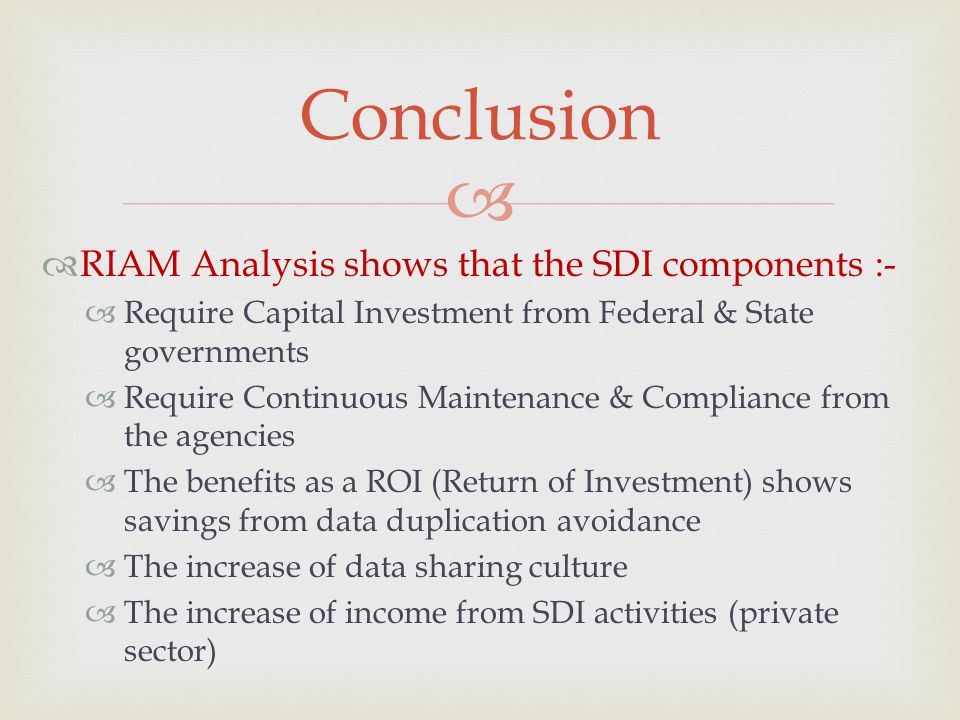 Conclusion RIAM Analysis shows that the SDI components :-