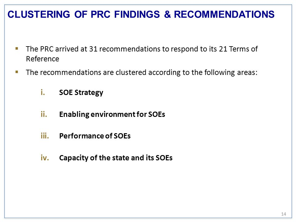 CLUSTERING OF PRC FINDINGS & RECOMMENDATIONS