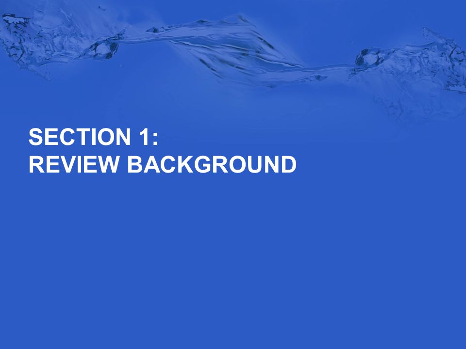 SECTION 1: REVIEW BACKGROUND