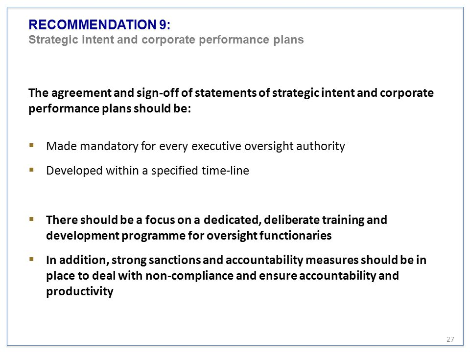 RECOMMENDATION 9: Strategic intent and corporate performance plans