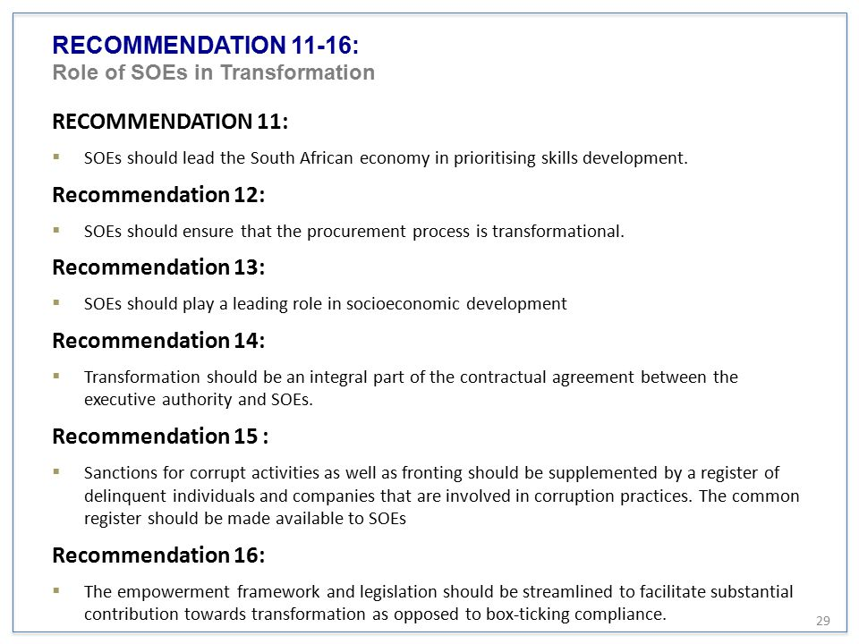RECOMMENDATION 11-16: Role of SOEs in Transformation