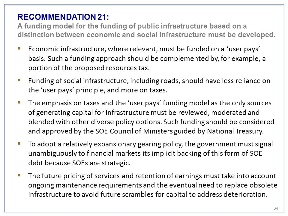 RECOMMENDATION 21: A funding model for the funding of public infrastructure based on a distinction between economic and social infrastructure must be developed.
