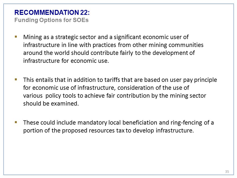 RECOMMENDATION 22: Funding Options for SOEs