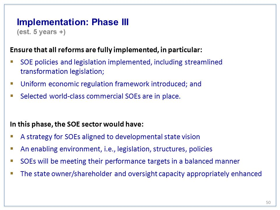 Implementation: Phase III (est. 5 years +)