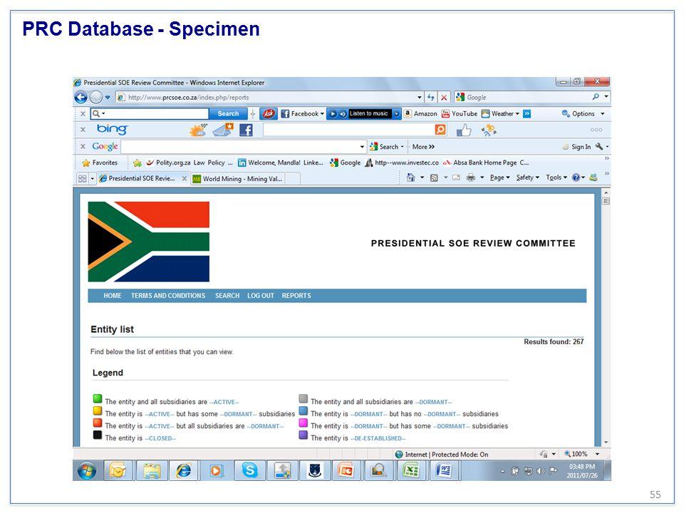 PRC Database - Specimen