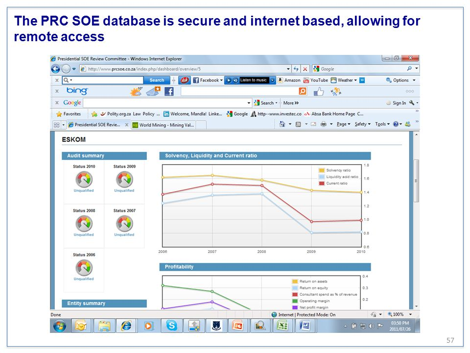The PRC SOE database is secure and internet based, allowing for remote access
