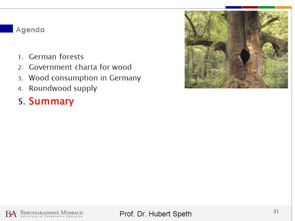 Summary Agenda German forests Government charta for wood