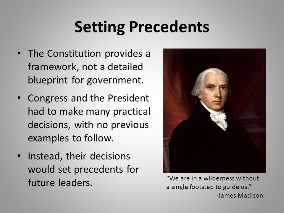 Setting Precedents The Constitution provides a framework, not a detailed blueprint for government.
