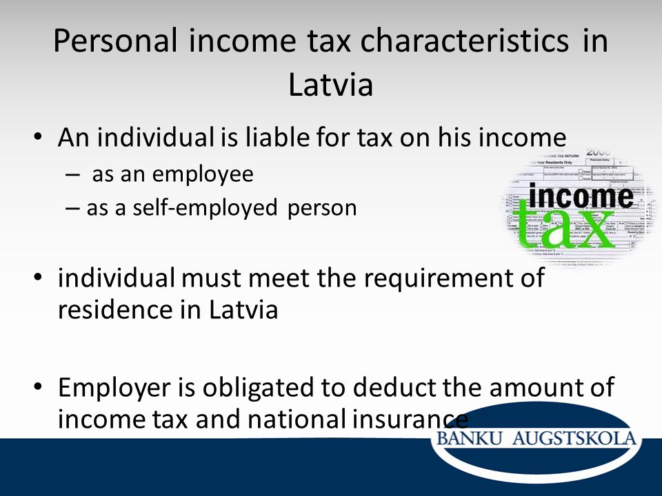 Personal income tax characteristics in Latvia