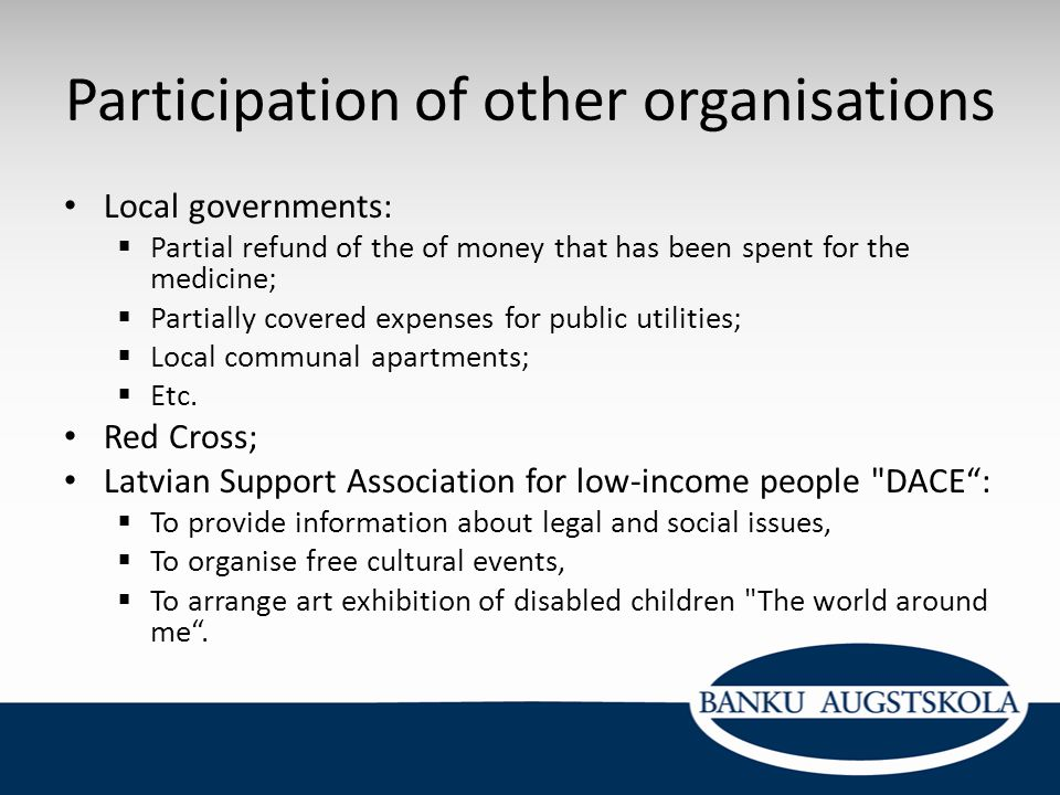 Participation of other organisations