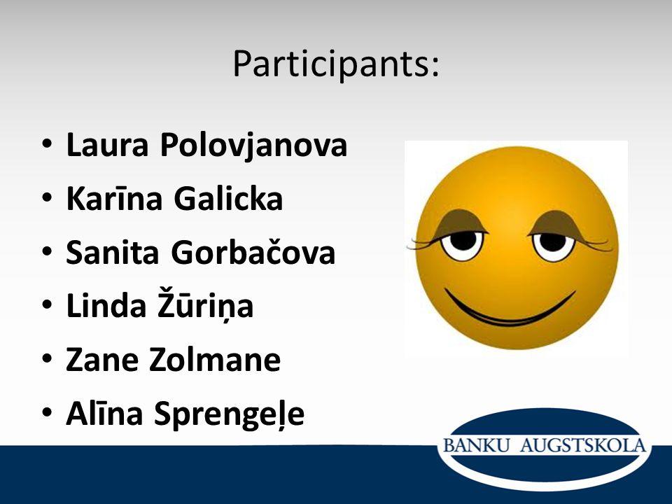 Participants: Laura Polovjanova Karīna Galicka Sanita Gorbačova