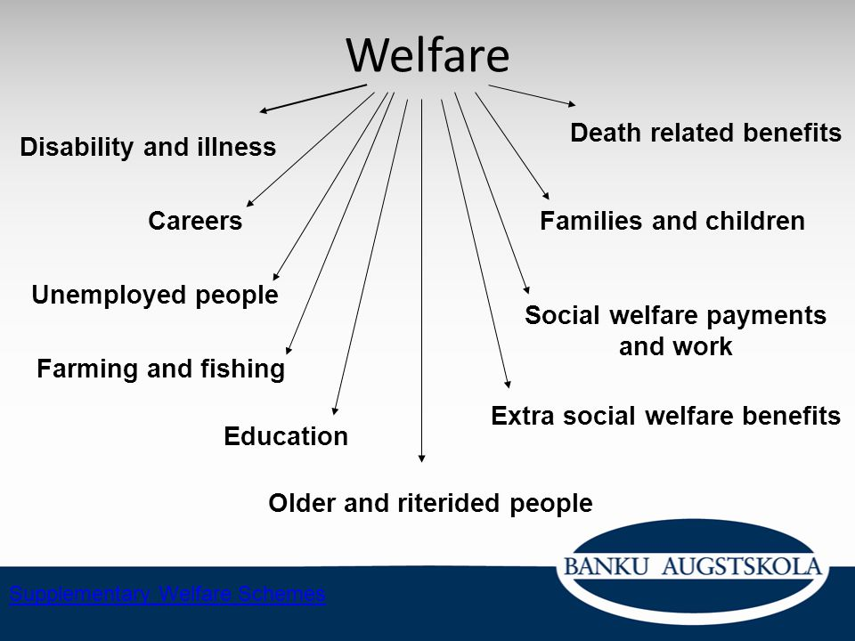 Welfare Death related benefits Disability and illness Careers