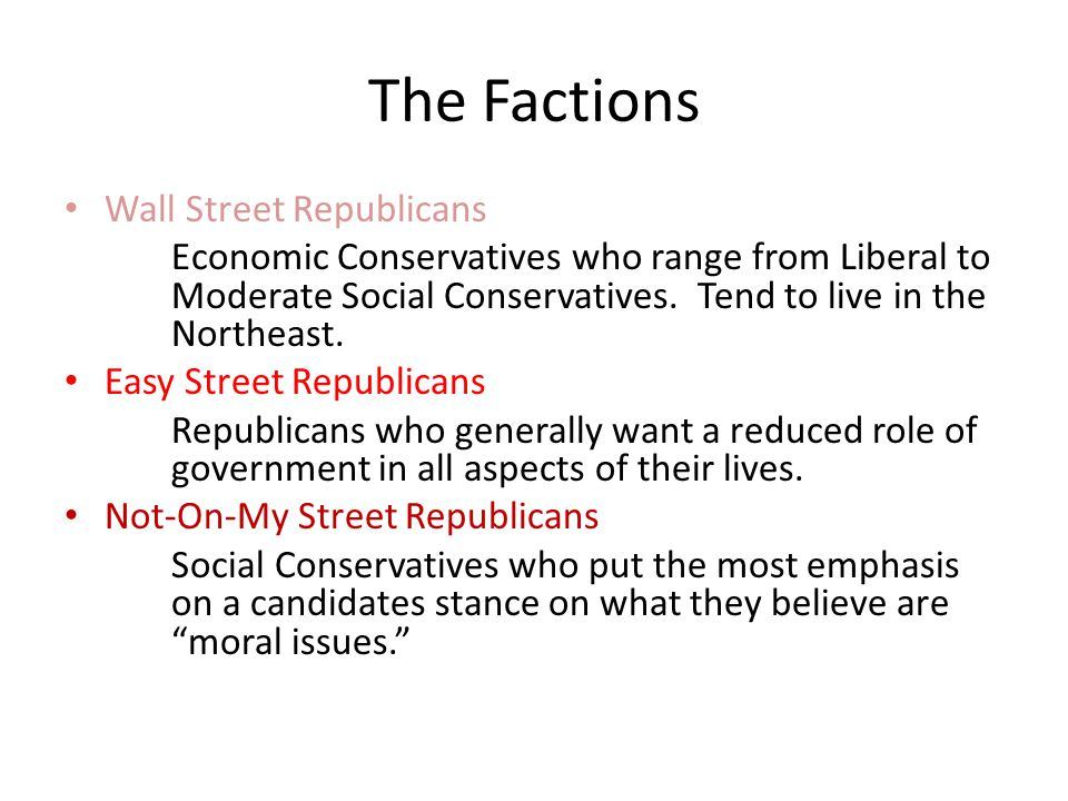The Factions Wall Street Republicans