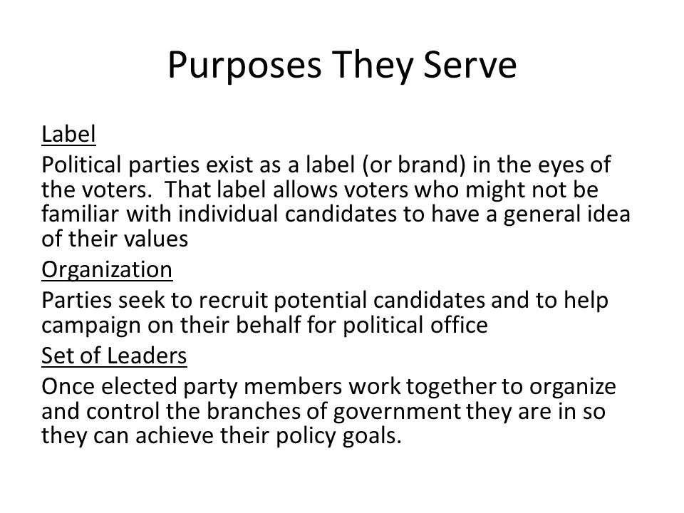Purposes They Serve