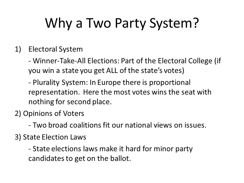 Why a Two Party System Electoral System