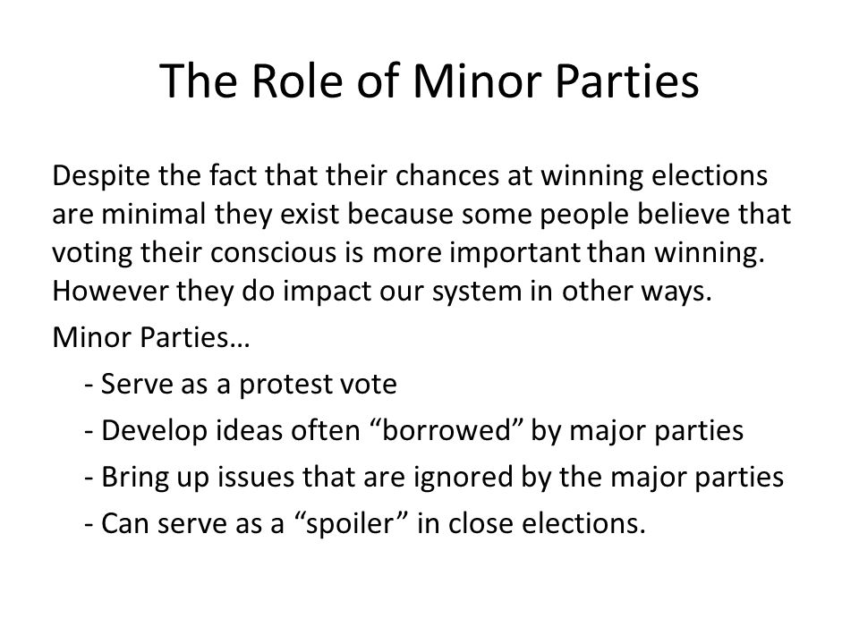 The Role of Minor Parties