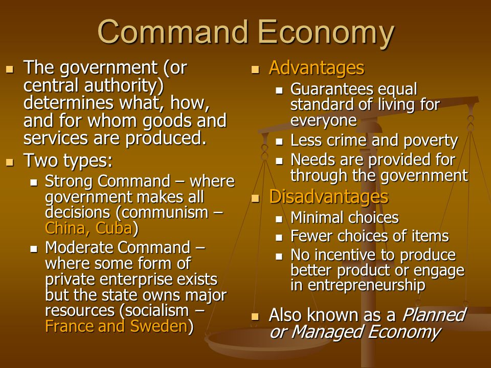 Command Economy Advantages Disadvantages