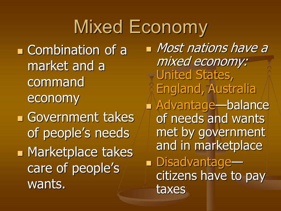 Mixed Economy Combination of a market and a command economy