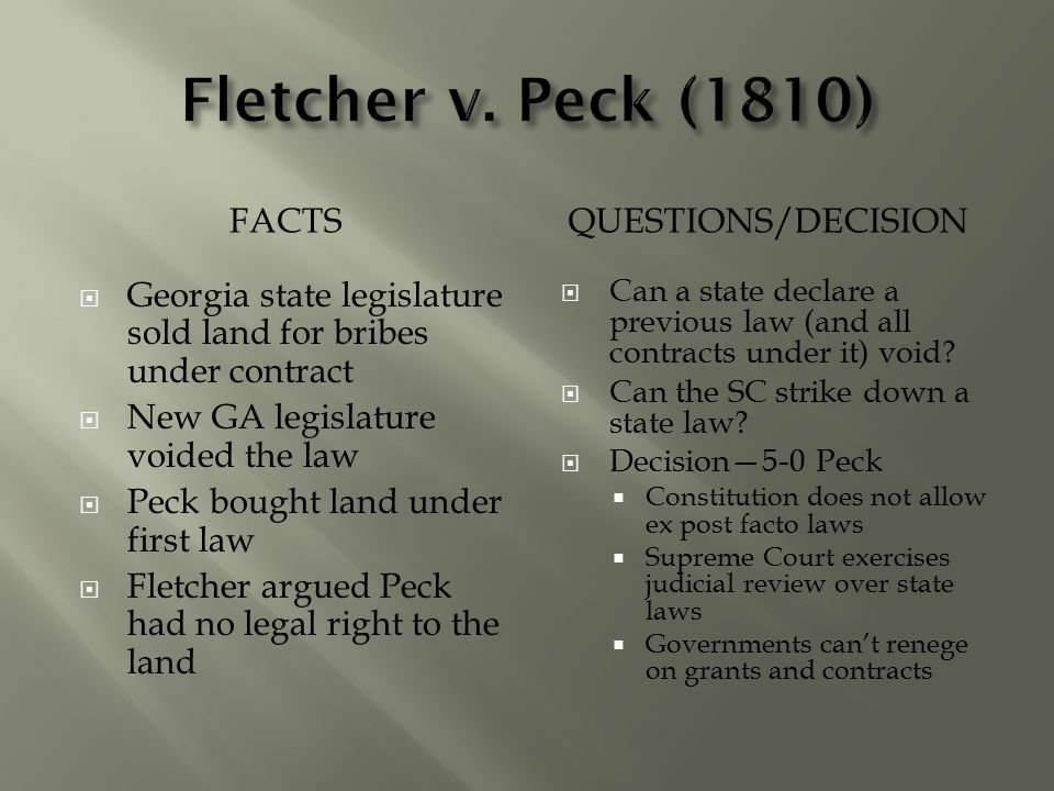 Fletcher v. Peck (1810) FACTS Questions/Decision