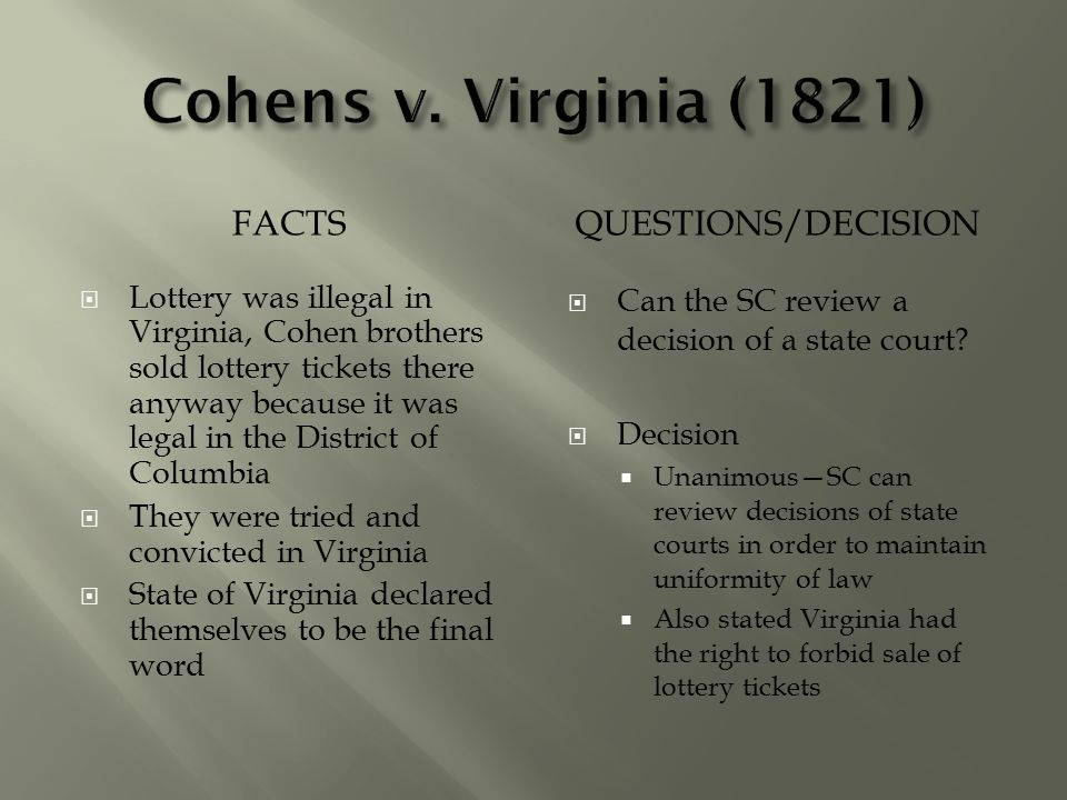 Cohens v. Virginia (1821) Facts Questions/Decision