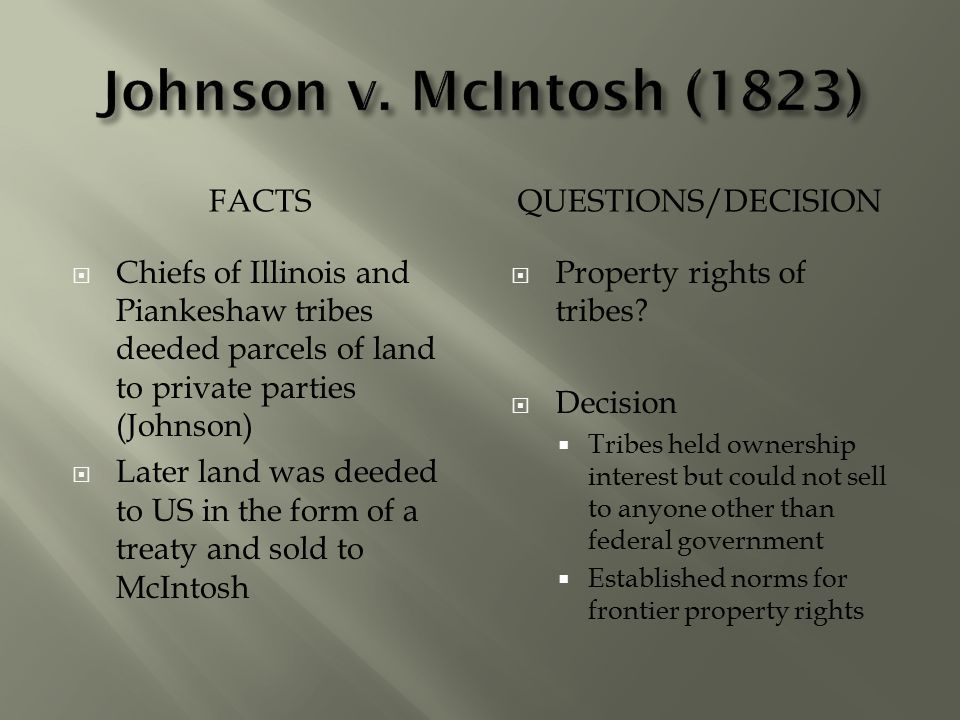 Johnson v. McIntosh (1823) Facts Questions/Decision