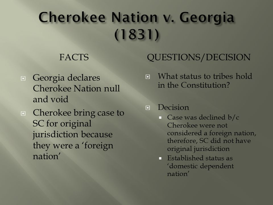 Cherokee Nation v. Georgia (1831)