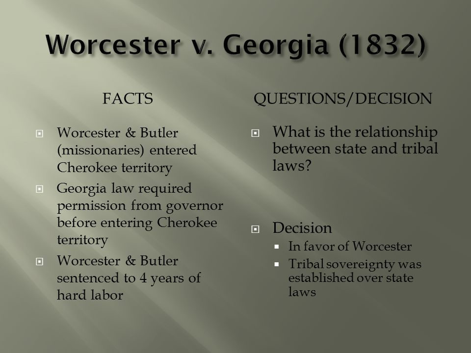 worcester v georgia 1832 Cherokee leaders appealed to the supreme court in the monumental case worcester v georgia ruling in favor of the cherokee people and missionary samuel worcester and overturning a previous georgia law from 1831 worcester v georgia (1832).
