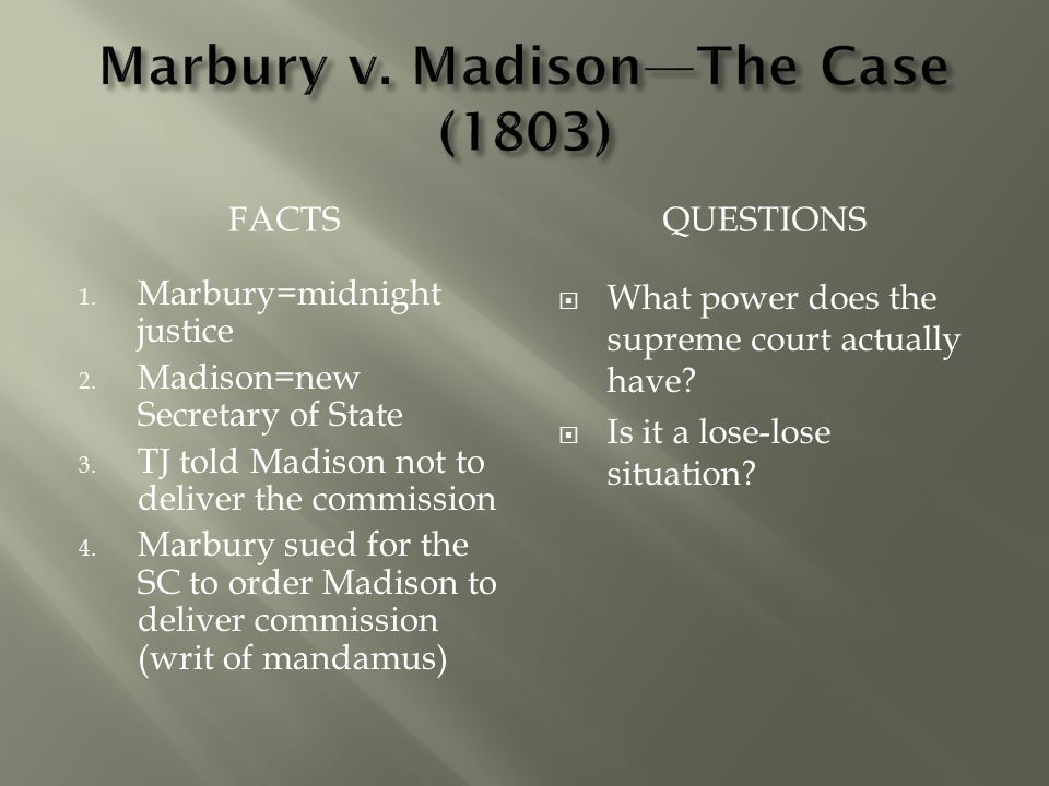 Marbury v. Madison—The Case (1803)