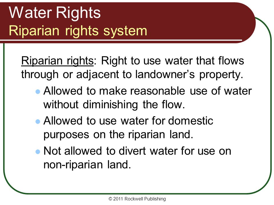 Water Rights Riparian rights system