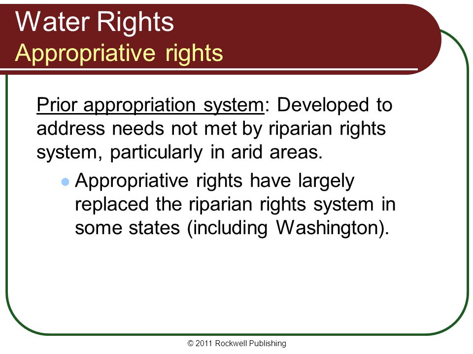 Water Rights Appropriative rights